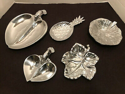 Lot/5 Vintage Wilton Bruce Fox Design Pewter Trinket/Candy Dishes Columbia Pa