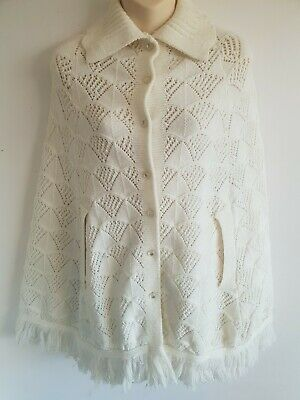 Winter White Wintuk Vintage Poncho With Pockets Size S/M