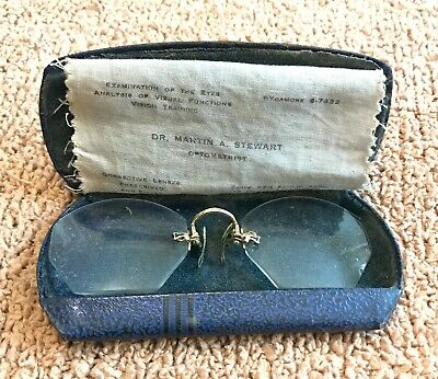 Antique GOLD FiledGF Shur On nose clamp Glasses Spectacles, w/ Case