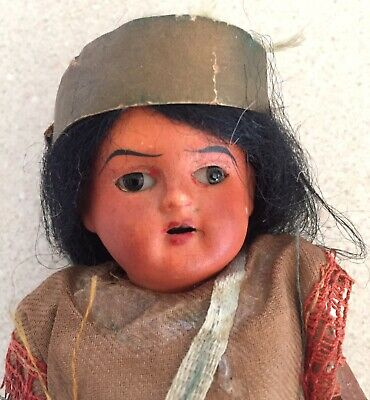 Scowling Indian All Original, Paper Mache Body, Mohair Wig, Black Glass Eyes