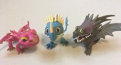 Lot of 3 How To Train Your Dragon Action Figures Dreamworks DWALLC 2013 DWA LLC