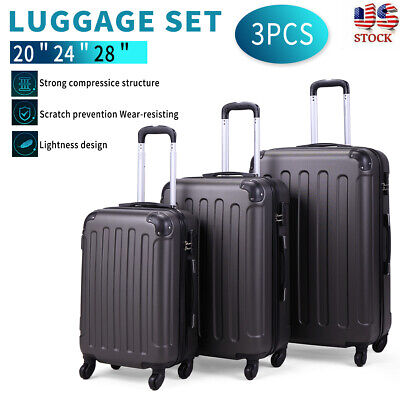 BHC 3PCS Luggage Carry On Set Trolley Suitcase Travel Spinner ABS+PC Gray