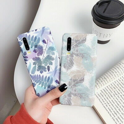 For Huawei Mate 30 P30 Pro P20 Honor 20 Nova 5i Matte Leaves Hard PC Case Cover
