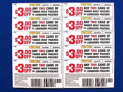 LONGHORN/TIMBERWOLF ($3.00 OFF/2-Cans) Coupon (10-Total/$30.00) Exp; 12/31/2019