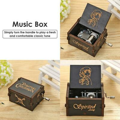 Wooden Music Box Game of Thrones Star Wars Engraved Xmas Toy Kid Gift Hand Crank