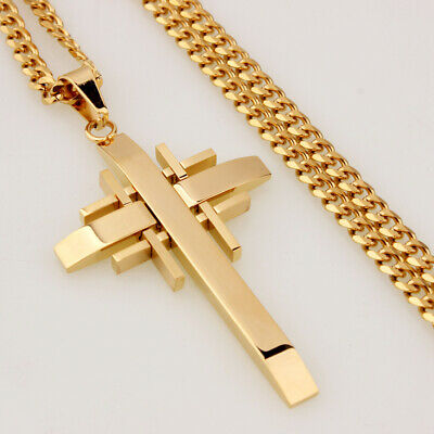 Mens Chain 18K Gold Tone Curb Link Stainless Steel Cross PENDANT NECKLACE 24''