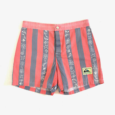 QUICKSILVER!!! Vintage 1980s mens 'Quicksilver' striped cotton board shorts