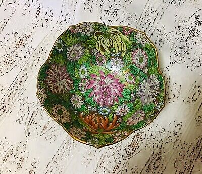 Vintage Signed Floral And Gilt Chinese Bowl And Stand