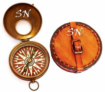Nautical Antique Brass Compass Maritime Pocket Gift With Round Leather Case