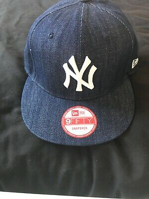 New Era Mens Baseball Cap.new York Yankees Navy Jeans Flat Peak Snapback