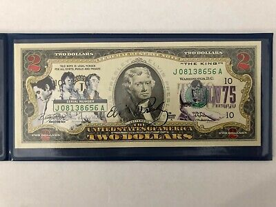 Merrick Mint USA 2 Dollars colorized banknote ELVIS PRESLEY 75th Birthday (334)
