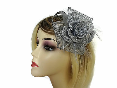 Silver Grey Fascinator with Bow and Flower Design on a Hair Clip with Brooch pin