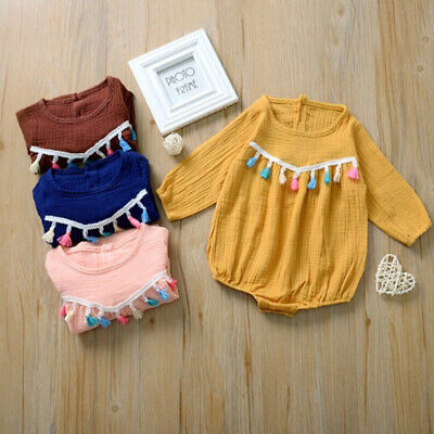 Newborn Toddler Kids Baby Girl Tassel Clothes Romper Jumpsuit Bodysuit Outfits