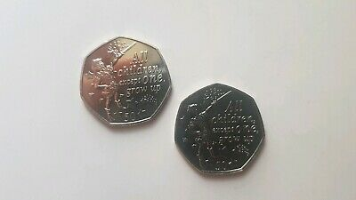 2 Isle Of Man PETER PAN 50p COINS PETER 90th ANNIVERSARY  2019 from sealed bag