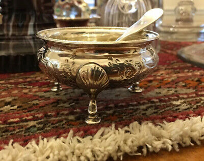 Antique WG&S Dated 1854 Sterling Silver Open Salt Cellar w/Coin Silver Spoon