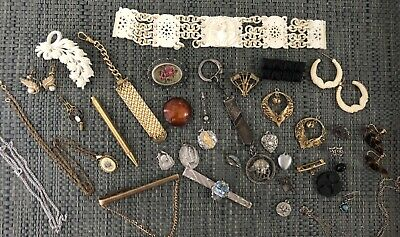 Antique Art Deco Victorian Vintage Jewelry Lot Sterling Silver Gold Fill