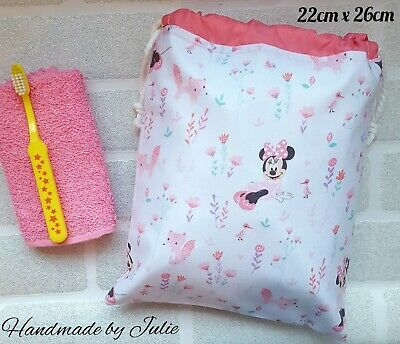 Girls DISNEY MINNIE MOUSE FOXES Drawstring Wash Bag Cotton WATERPROOF lined