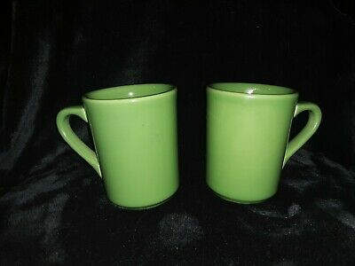 Homer Laughlin Vintage Restaurant Ware Coffee Mug Cup GREEN THICK Set of 2 OLD
