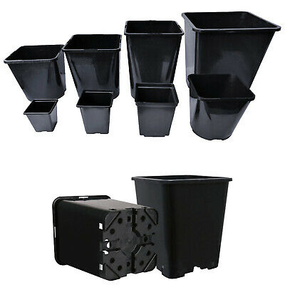 Square Plant Pots Strong Black Reusable Gardening Flower Seed Grow Plastic Pot