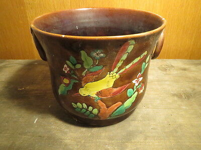 Antique Cache Pot Ceramic Limoges M. N.D Pattern Bird Old French Pottery