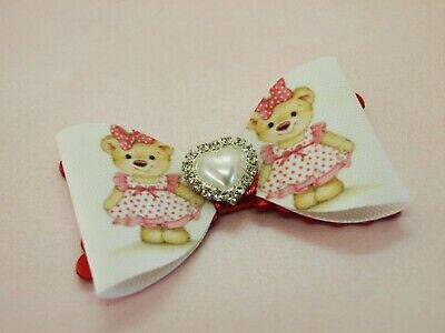 SALE - Girls Teddy Bear Hair Bow - White Red Hair Bows HANDMADE Hair Clips