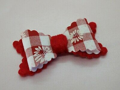 SALE - Girls Red White Gingham Hair Bow -  Checked Hair Bows HANDMADE Hair Clips