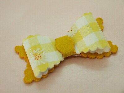 SALE - Girls Yellow White Gingham Hair Bow - Hair Bows HANDMADE Hair Clips