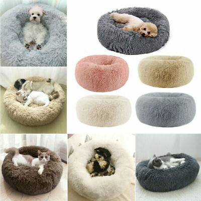 Comfy Calming Dog Cat Bed Round Warm Soft Plush Pet Bed Marshmallow Cat Bed