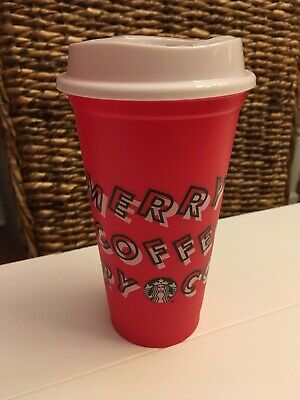 Starbucks 2019 Limited Holiday Merry Red Reusable Hot Cup Grande 16oz Christmas