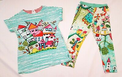 Girls Oilily Green Stripe Top And Countryside Print Leggings, Age 6 Yrs Pristine