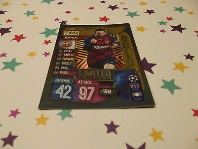 Topps Match Attax 19/20,Champions & Europa League,Lionel Messi Gold Limited Edit