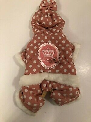New Pink With White dolka dots dog coat size small