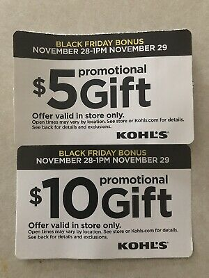 Kohls $15 Promotional Gift Card - Valid On Nov28-29. In Store Only.