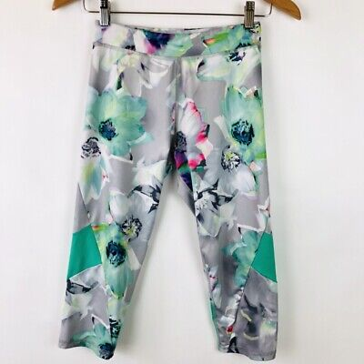 Adidas Youth Girls Size Large 12 14 Cropped Floral Print Leggings Pants Active