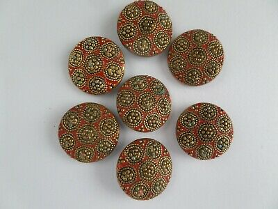 Pretty, Textured Brass and Red enamel, Set of Seven Vintage Buttons - 30's/40's.