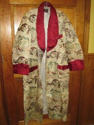 Vintage Mens Silk Japanese Kimono Smoking Jacket Bath Robe 1950's Unique GIFT