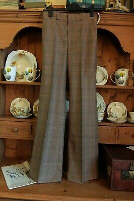 BNWT 1970s FLARED CRIMPLENE TROUSERS CHECKED RETRO LIFE ON MARS RE-ENACTMENT 30L