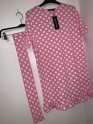 pink & White Polka dot dress size 10 Brand New With Tags