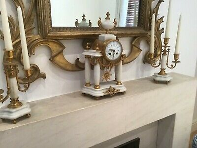Beautiful Antique 19c Marble and Guilt Marble French Mantel Clock Set