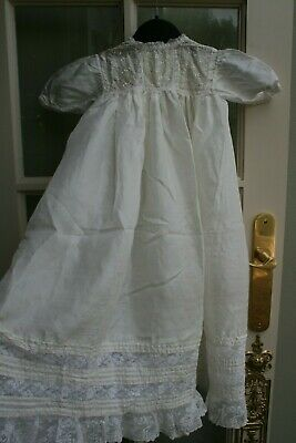 COLLECTABLE ANTIQUE BABY-INFANT-DOLL IVORY SILK DRESS SMALL 6 MTH'S c 1900