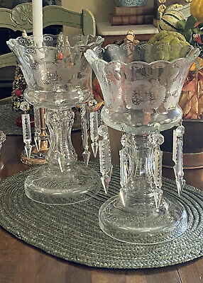 Pair Of Antique Candle Sconces Zipper Cut Crystal And Etched Glass Vases