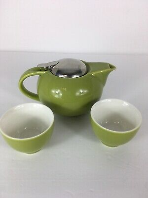 Teavana Teapot Green Fine Porcelain With Strainer And 2 Tea Cups Excellent