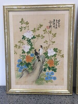 Pair of vintage Japanese hand painted pictures on silk