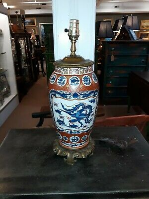 Large Antique Japanese Imari or  Ceramic Lamp