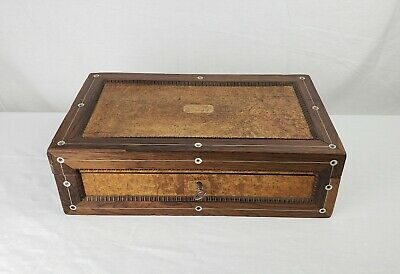 Antique Victorian Writing Slope Lap Campaign Desk Burl Wood MOP Working Key 19th
