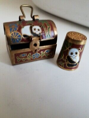 Vintage PANDA THIMBLE. with Matching Treasure Chest.