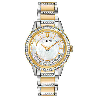 Bulova Women's Quartz Crystal Accent Two-Tone Bracelet 32mm Watch 98L245