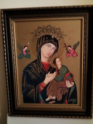 Large Vintage Religious Art Picture Madonna FINE Quality Ornate Frame. REDUCED