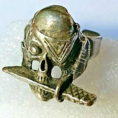 Ancient Silver skull knife Ring Rare Type Very Stunning,