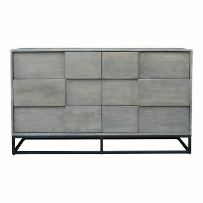 """55"""" L Dresser Contemporary 6 Drawer Solid Acacia Wood Powder Coated Iron"""